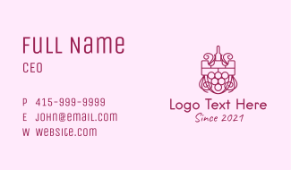 Wine Tower Shield Business Card