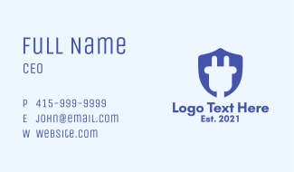 Plug Shield Crest Business Card