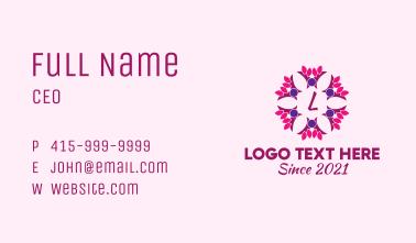 Ornamental Flower Wreath Letter Business Card
