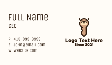 Brown Owl Key Business Card