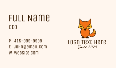Orange Fox Toy  Business Card