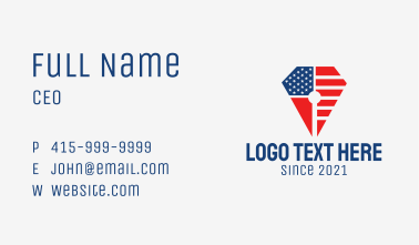 American Flag Pencil  Business Card