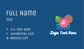 Tropical Summer Letter Business Card