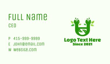 Green Botanical Letter U Business Card