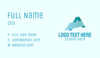 Blue Line Motion Letter A Business Card