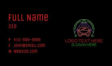 Glowing Neon Car Wash Business Card