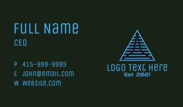 Blue Linear Pyramid Business Card
