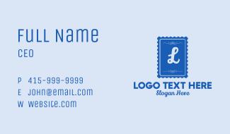 Blue Stamp Lettermark Business Card