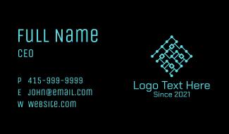 Blue Technology Circuit Business Card