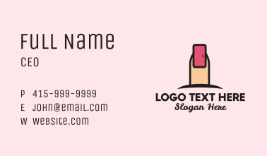 Pink Fingernail Door  Business Card