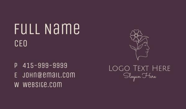 maiden - Monoline Face Flower Business card horizontal design