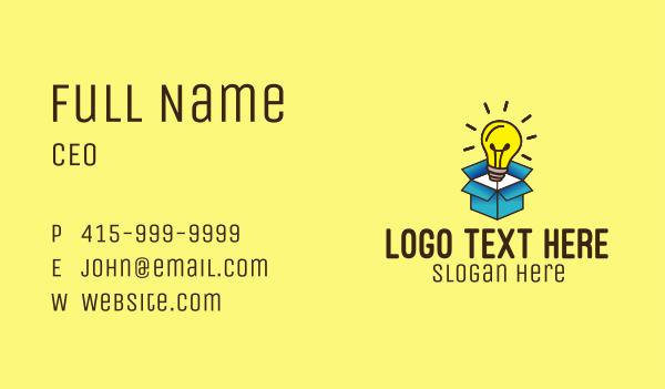 think - Lightbulb Box Idea Business card horizontal design