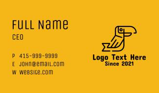 Black Monoline Toucan Business Card