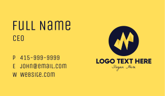 Yellow Electric Letter N Business Card