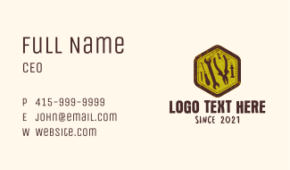 Rustic Mechanic Tools Hexagon Business Card