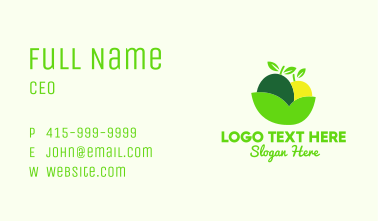 Fresh Fruit Leaf Bowl Business Card