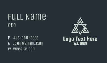 Grey Geometric Triangle Gaming Business Card