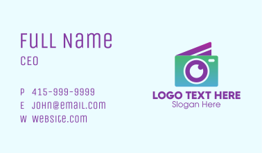 Modern Disposable Camera Business Card
