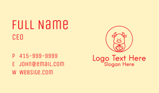 Red Baby Ox Zodiac  Business Card
