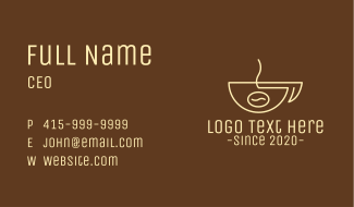 Simple Coffee Bean Cup Business Card