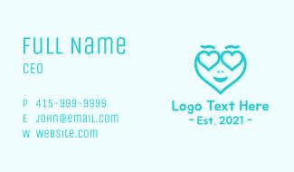 Blue Heart Head Business Card