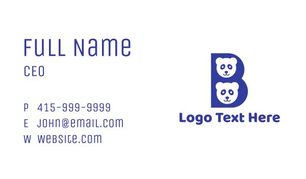 panda - Blue B Panda  Business card horizontal design