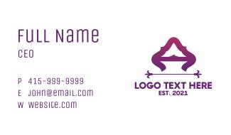Purple Elegant Letter A Business Card