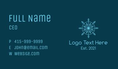 Line Art Blue Snowflake Business Card