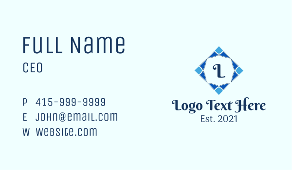decorate - Decorative Diamond Lettermark  Business card horizontal design