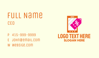Mobile Shopping Discount Tag Business Card
