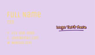 Cute Handwritten Wordmark  Business Card