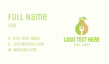 Healthy Pear Restaurant  Business Card