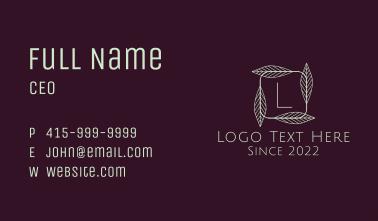 Elegant Leafy Letter  Business Card