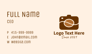 Coffee Bean Camera  Business Card