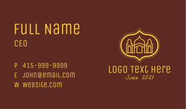 Yellow Religious Mosque  Business Card