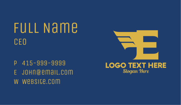 airlines - Gold Letter E Wings  Business card horizontal design