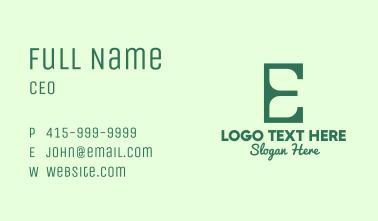 Green Environment Letter E Business Card