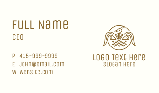 Golden Aztec Bird Badge Business Card