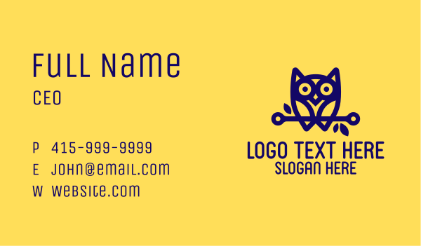 scholarship - Modern Blue Owl Business card horizontal design
