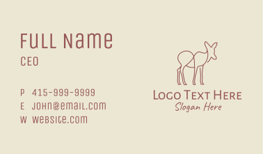 Brown Deer Line Art Business Card