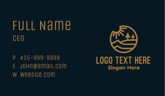 Gold Lakeside Outdoor Scene Business Card