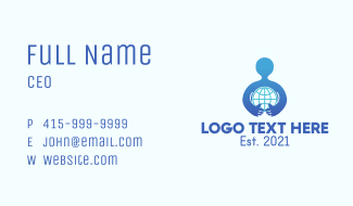 Blue Man Globe  Business Card