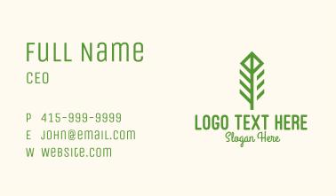 Green Flower Stalk Business Card