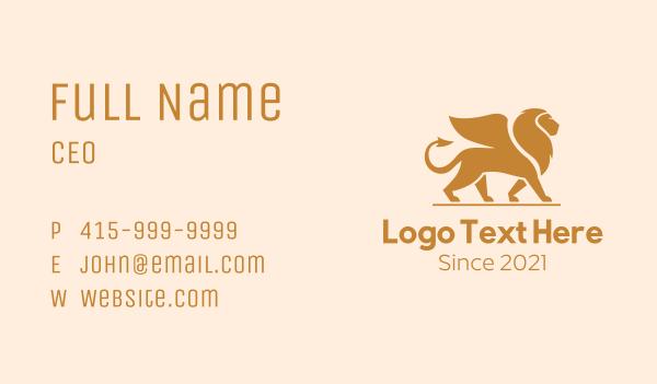 mythology - Golden Winged Lion  Business card horizontal design