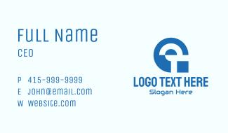 Blue Digital Tech Letter G Business Card