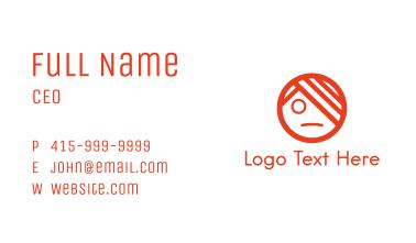 Orange Emo Face Business Card