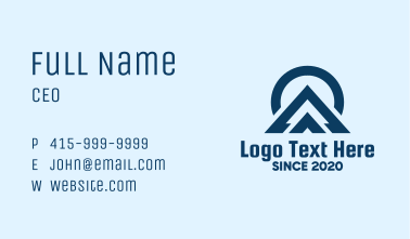 Blue Abstract Mountain Peak Business Card