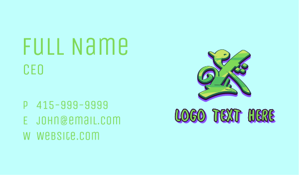 street  art - Green Graffiti Art Letter X Business card horizontal design