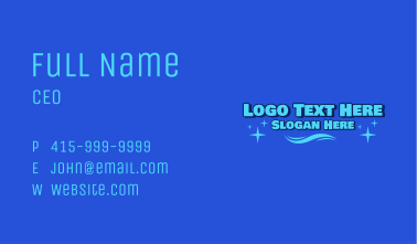 Blue Summer Party Wordmark Business Card