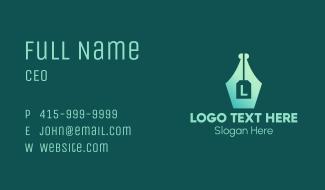 Pen Nib Letter  Business Card